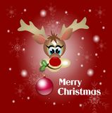 Reindeer with christms bulb greeting card Royalty Free Stock Image