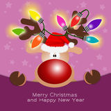 Reindeer with colorful lights Royalty Free Stock Photos