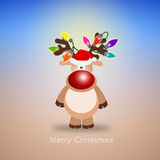Reindeer with colorful lights Stock Photography