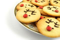 Reindeer cookies on plate Royalty Free Stock Photography