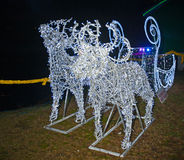 Reindeer created with light emitting diodes. Pair of reindeer and sleigh created using large numbers of light emitting diodes seen at Winter Wonderland Festival Royalty Free Stock Images