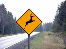 Reindeer crossing. Deer crossing sign plus red sticker equals reindeer crossing sign for the holidays. Note that while there isn't snow on the ground, there is Stock Images