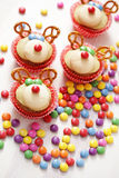 Reindeer cupcakes Royalty Free Stock Images