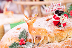 Reindeer decoration on a Christmas stollen Stock Photo