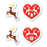 Reindeer, deer jumping, Christmas icons set Stock Images