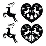 Reindeer, deer jumping, Christmas icons set Stock Photo