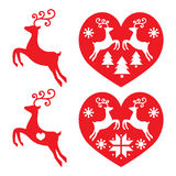 Reindeer, deer jumping, Christmas icons set Royalty Free Stock Image