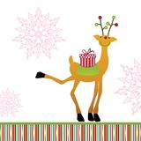 Reindeer delivering gift. Happy reindeer delivering  wrapped gift  snowflakes in background Royalty Free Stock Photos