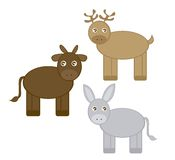 Reindeer, donkey and ox Royalty Free Stock Images