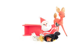 Reindeer and Drinking Santa Claus Sleigh Accident. With bag of packages spilled onto the snow white background Royalty Free Stock Image