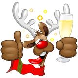 Reindeer Drunk Funny Christmas Character. Funny Christmas Reindeer Cartoon Character, Looking really Drunk and groggy, after the Party, with still a Glass with stock illustration