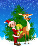 Reindeer & Elf by Christmas Tree Royalty Free Stock Photo