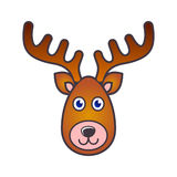 Reindeer face christmas icon. Simple colorful reindeer face christmas icon Stock Photography