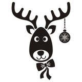 Reindeer face. Cute black vector cartoon reindeer face christmas icon Stock Photos