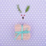 Reindeer face made of Christmas decoration and pine branches. Minimal christmas concept. Stock Photography