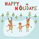 Reindeer family ice skating happy holiday banner vector. illustr Stock Photography