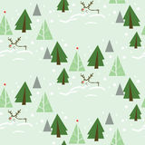 Reindeer in Fir Tree Forest Seamless Pattern. Seamless pattern with Christmas theme. Reindeer walking through fir forest in the snow Stock Images