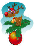 Reindeer on fir of twig. Baubles Royalty Free Stock Photos
