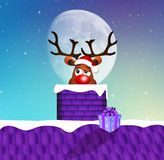 Reindeer in the fireplace. Illustration of reindeer in the fireplace at Christmas Royalty Free Stock Images