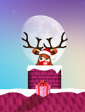 Reindeer in the fireplace. Illustration of reindeer in the fireplace at Christmas Stock Photo