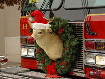 Reindeer on Firetruck royalty free stock photo