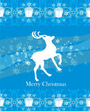 Reindeer flying stars. blue background Royalty Free Stock Image