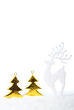 Reindeer in forest Christmas decoration. Reindeer in snow in forest Christmas decoration with white background Royalty Free Stock Photos