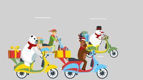 Reindeer and friends on their scooters.