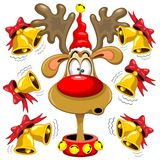 Reindeer Fun Christmas Cartoon with Bells Stock Photos
