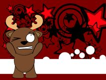 Reindeer funny cartoon background card3 Royalty Free Stock Photos