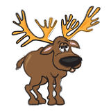 Reindeer - funny cartoon illustration. Funny cartoon illustration of standing reindeer Royalty Free Stock Photography