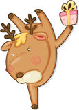 Reindeer and gift box. Illustration of reindeer and gift box on a white background Royalty Free Stock Photos