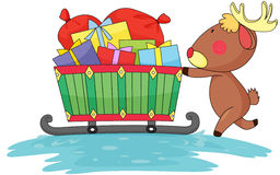 Reindeer and gift boxes. Illustration of reindeer and gift boxes on a white background Royalty Free Stock Images