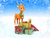 Reindeer with gift boxes. Royalty Free Stock Photos