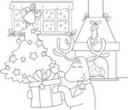 Reindeer with gift and Christmas tree. Reindeer with big present in a room decorated for Christmas. Coloring illustration for children Stock Images