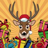 Reindeer with gifts Christmas pop art. Vector illustration graphic royalty free illustration