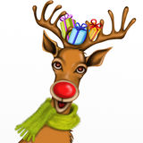 Reindeer with gifts Royalty Free Stock Image