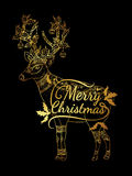 Reindeer gold on black background. Merry Christmas from vector.Reindeer gold on black background.Merry Christmas in 2016.Reindeer tangle for coloring Stock Image
