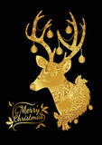 Reindeer gold on black background. Merry Christmas from vector.Reindeer gold on black background.Merry Christmas in 2016.Reindeer tangle for coloring Royalty Free Stock Photos
