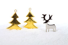 Reindeer with golden trees Royalty Free Stock Photography