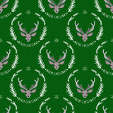 Reindeer on a green background. Seamless pattern. Seamless pattern. Reindeer on a green background stock illustration