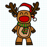 Reindeer hand draw cartoon. Royalty Free Stock Photos