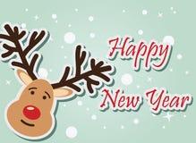 Reindeer Happy New Year. Vector illustration stock illustration