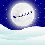 Reindeer in harness with sleigh Santa Claus for Christmas. Illustration Royalty Free Stock Photo