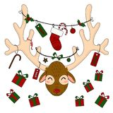 Reindeer head with christmas gift boxes and labels royalty free illustration