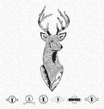 Reindeer head with leaf seamless abstract hand drawn pattern for retro vintage emblem, hipster logo or tattoo. Royalty Free Stock Photography