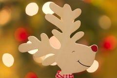 Reindeer. Head over christmassy bokeh background Stock Photography