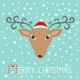 Reindeer head in Santa Claus hat. Merry christmas. Candy. Reindeeer head in Santa Claus hat. Merry christmas. Candy cane. Cute cartoon deer face with curly Royalty Free Stock Images