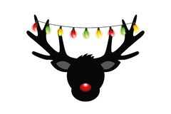 Reindeer head silhouette with red nose and christmas lights deco stock illustration