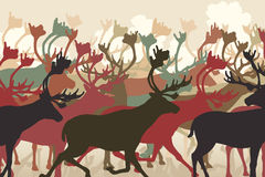 Reindeer herd. EPS8 editable vector illustration of a reindeer or caribou herd migrating Royalty Free Stock Images